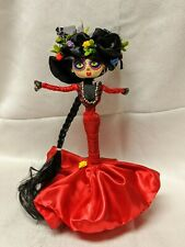 Colombia Hand Made DIVA DOLL Red dress costume Día de Muertos style 12""