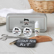 Mo Bro's Beard Unscented Tin Gift Set - 6 Pcs Inc Balm, Wax, Oil, Comb
