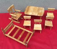 11 VTG Wood Strombecker Doll Furniture Rocking Chair Bed Table Chairs For Repair