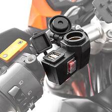 Wettergeschützte 12V Steckdose und 2 USB Steckdosen (5V) für Motorrad Roller