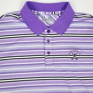Under Armour Golf Purple Striped Mens Short Sleeve Polo Shirt Size Large