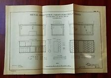 1885 Sketch Diagram US Military Metal Ammunition chest field limber 3.2 BL Rifle