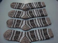 NWOT Women's Merino Wool Blend Socks Shoe Size 6-9 Brown w/ Design 4 Pair #5E