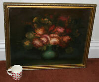 "Vintage Original Oil On Canvas Still Life Painting Signed Preston 27""x22.5"""