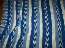 "Handmade Vintage Popcorn Stitch Afghan Throw Blanket 52""x 90"" BLUE & WHITE"