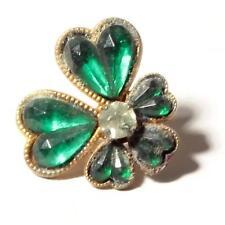 (1) 18mm antique Czech Bohemian gold tone clover leaf button green rhinestones
