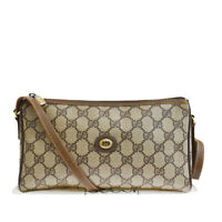 Authentic GUCCI Logo GG Pattern Shoulder Bag PVC Leather Brown Italy 61MG527