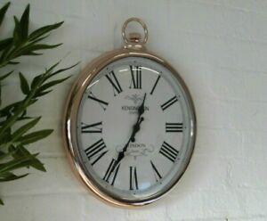 Copper Large Pocket FOB Watch Wall Clock Vintage Retro Kensington London Station