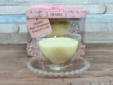 Desire Pink Champagne Scented Wax Candle In A Glass Teacup With Saucer Tea Cup