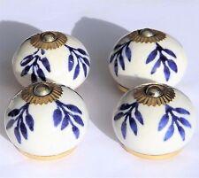 Porcelana Cerámica Armario tira de Botones Blanco Redondo Con Azul Follaje (