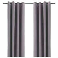 "Ikea BOLLOLVON Darkening Blackout Curtains 2 Panels (1 Pair) ~ Gray 57""W x 98""L"