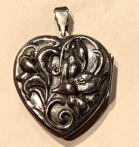 Vintage Repousse Large Silver Heart Locket Pendant