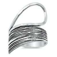 Large Statement Wraparound Ring Solid Sterling Silver Stamped 925 Boho Style