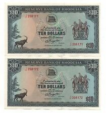RHODESIA 2 X 10 DOLLARS JANUARY 1979 CONSECUTIVE NUMBERS AUNC PICK 33 LOOK SCANS
