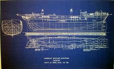 """Vintage American Whaling Schooner 1853 Half Hull Blueprint Plan 13"""" x 22"""" (182)"""