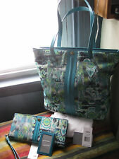 LODIS Matching Large Tote & Lg Clutch Wallet cornflower blue Canvas Leather $316