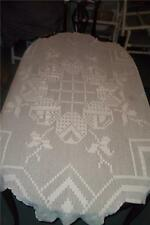 "Vintage Lace Tablecloth Sprang Work Large 71"" by 91"" Brown Strip Down Crochet"