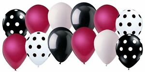 12 pc Retro Magenta & Black Inspired Latex Balloon Party Decoration 50's Dots