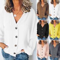 ZANZEA 8-24 Women V Neck Long Sleeve Button Down Shirt Tee Top Ladies Blouse HOT