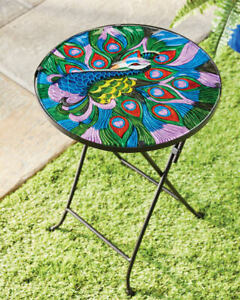 Gardenline  Decorative Peacock  Glass Table  Coffee Table/Flower Plant Stand