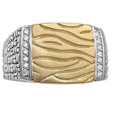 Silver Diamond Men's Ring, size 10.5 Philip Andre 14K Gold & Sterling
