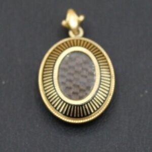 18kt Gold Victorian Woven Hair Mourning Pendant