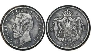5 Lei 1881 Romania 🇷🇴 Silver Coin // King Carol I  # 35  From 1$