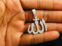 1.50 Ct Round Cut DVVS1 Diamond Allah Pendant Solid 14K White Gold Over