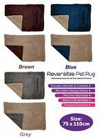 Luxury Warm Microfibre Sherpa Fleece Reversible Pet Cat Puppy Blanket Pad Rug