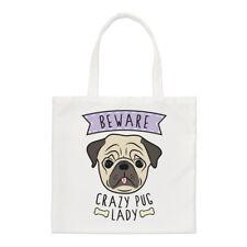 Fai attenzione Crazy Pug Lady Small Tote Bag-Divertente Cane Animale Carino Cucciolo spalla
