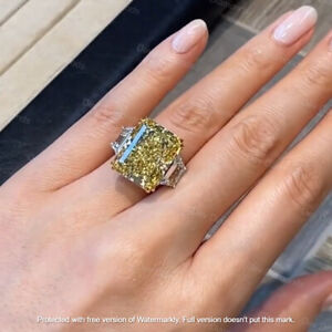 3.20Ct Emerald Cut Citrine Diamond Solitaire Engagement Ring 14K White Gold Over