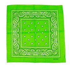 6 Lime Green Paisley Bandana Cotton Face Cover Head Wrap Scarf Lot Bandana