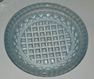 Depression Glass Small Round Pin / Butter Dish Pale Blue Diamond Square Pattern