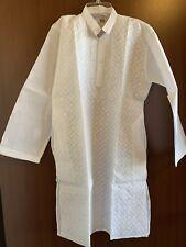 Lucknowi Chikankari White Kurta Pajama Set Cotton Boys Sz 12-14 Yr Old Chikan