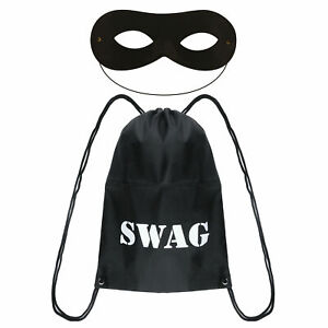 World Book Day Character Thief Robber Black Swag Bag Domino Eye Mask Fancy Dress
