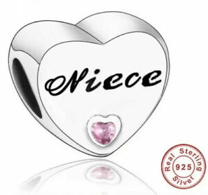 Niece Heart Family Charm Genuine 925 Sterling Silver 💞 Fits Moments Bracelets