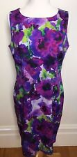 HOBBS London Purple Floral Stretch Cotton Sleeveless Shift Work Career Dress 10