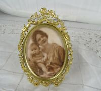 Antique French Gilt Bronze Oval Photo Frame Picture Rococo Style