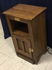 White Clad Ice Box Cabinet End Side Table Solid Darker Oak