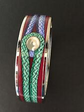HERMES Printed Enamel Bracelet Size 65 Silver Tone Palladium Hardware NWT