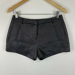 Country Road Womens Shorts Size 6 Black Gloss Zip Low Rise 229.25