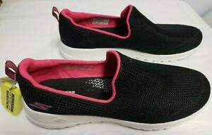 SKECHERS Pull On GO WALK JOY WOMAN Shoes, Size 9.5 Black with Pink Accent