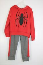 Marvel Spiderman 2-Piece Sweatsuit Red Hoodie and Grey & Red Sweatpants. Sz 4T.