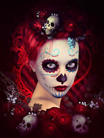 5D Full Diamond Painting Masquerade Death Skull Rose Embroidery Handicraft 6405X