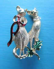 VINTAGE CHRISTMAS COSTUME JEWELRY - 2 TALL MCM CATS  PIN BY AVANTE (SO COOL)