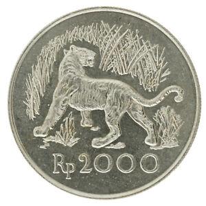 Indonesia - Silver (.500) 2000 Rupiah Coin - 'Javan Tiger' - 1974 - AU