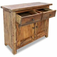 Home Retro Sideboard 2 Doors 2 Drawers Solid Reclaimed Wood End Cabinet Cupboard