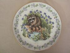 RACCOON collector plate GONE FISHING Woodland Babies HEIDI LINDY Royal Cornwall