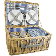 LUXURY PICNIC HAMPER BASKET WITH COOLER COMPARTMENT 4 PERSON WICKER CHILLER SUIT