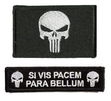 VELCRO® BRAND Hook Fastener Compatible Punisher Si Vis Pacem Bellum Patches BLK